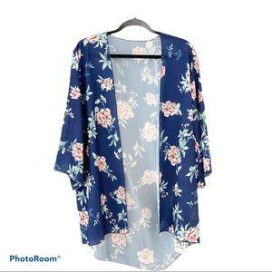 NWT- Blue Floral Kimono Swim Coverup - M